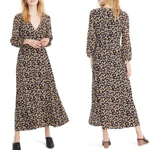Madewell Floral Long Sleeve Faux Wrap Maxi Dress